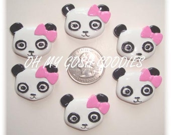 2 Piece Set PANDA ACADEMY PINK Bow Hairbow Centers - Oh My Gosh Goodies Resins