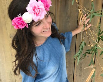 Adult Woman Flower Crown - Headpiece -Wedding -Bridal Shower - Festival Floral Crown - Maternity Photo - Graduation Photo - Music Festival
