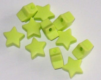 5 silicone beads form star 15 mm Green