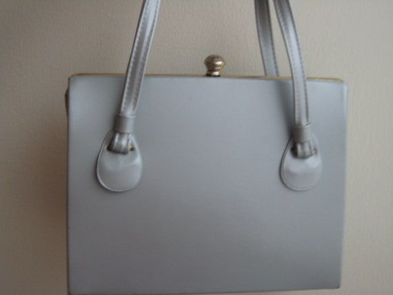 Gray Patent Vinyl Purse by Garay