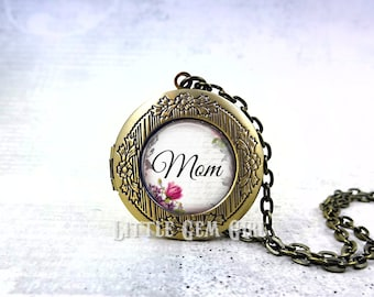 Personalized Mom Locket -  Custom Mom Necklace Mothers Day Jewelry - Round Photo Locket Silver Bronze or Gunmetal & 17 Designs Available