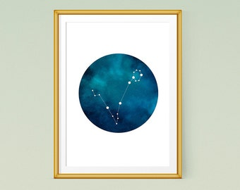 Zodiac Pisces wall prints, Printable art, Pisces constellation 11x14 and 8x10