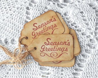 Seasons Greetings Christmas Gift Tags Coffee Stained Grunge Rustic Primitive Hang Tags Holidays Hang Tags