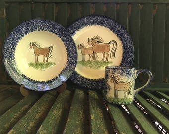 Molly Dallas Horse Dinnerware- Place Setting Set- handpainted horse decor for the horse lover & Horse Dishes and Horse Mug by Molly Dallas Horse Serving