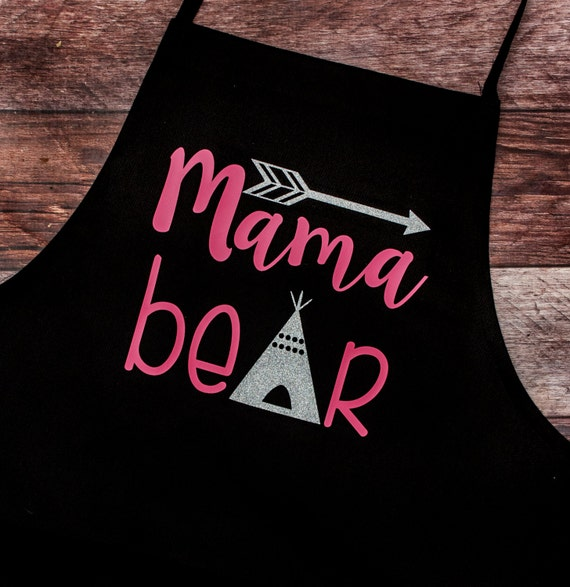 Mama Bear Apron, Glittery, Bear, Tent, Arrow, Gift for Her, Grill, Bar-b-que/BBQ, summer, outdoors, cook, chef, Pastry, Bakery, Mother's Day