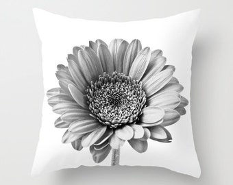 Cushion Cover, Black and White Gerbera Daisy Photo Pillow Case, Contemporary Home Decor, Shabby Elegance, Botanical Art, Anniversary Gift