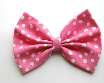 Danielle Hair Bow - Pink and White Polkadot Hair Bow with Clip - Gifts for Girls, Teens, Women