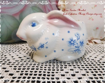 Vintage Bunny Planter with Blue Floral Pattern, Ceramic, Made in Brazil, 1970's, Home Decor, Accent, Spring, Easter, ECS