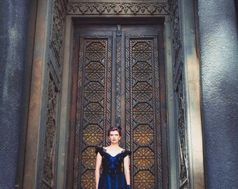 Penny Dreadful 1890s Gown, Victorian Black and Blue Dress