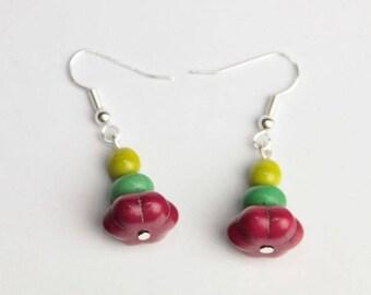 Pumpkin fuchsia earrings, spring and lime green