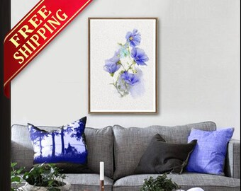 Blue Flower Wall Art Room Decor Blue Flower Art Print, Living Room Decor Blue Flower Wall Art Print Room Decor Original Gift Idea