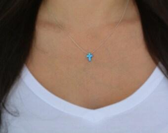 Sterling silver mini opal cross necklace. Sterling silver gold plated opal necklace. Mini cross opal necklace. Small cross necklace.