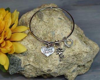 Child Size Granddaughter Bracelet....Expandable Silver Plated Bangle Bracelet