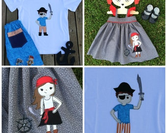 Calico Jack & Fishnet Bonnie Pirate Bundle Sketchy Free-Motion Appliqué Pattern