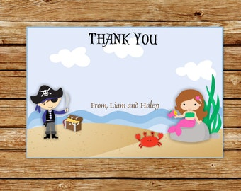 Pirate and Mermaid Party Invitation | Pink Mermaid and Blue Pirate Thank You Card | Pirate and Mermaid Birthday Party | Thank You Card