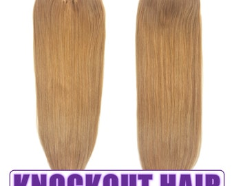 "Fits like a Halo Hair Extensions 20"" Dark Blonde (#7B) - Human No Clip In Flip In Couture by Knockout Hair"