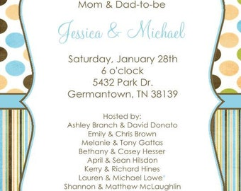 10 Boy Baby Shower Invitations with Envelopes.  Free Return Address Labels