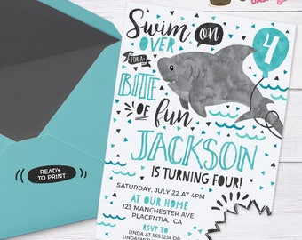 Shark Birthday Invitation Shark Attack invitation Under the sea invitation ocean Birthday Party printable invitation Pool party invitation