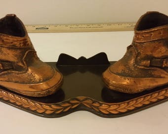 Vintage Bronzed Baby Boots, 1960's or 1970's