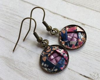 Origami Camellia Dangle Earrings //  Navy Floral