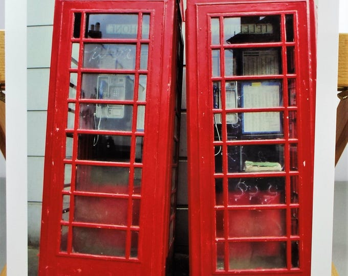 Vintage British Red Telephone Boxes Fine Art Print - 8.5 x 11 in - Unframed - Printed on Pro Quality Canon Paper w/ Archival Inks - c1987