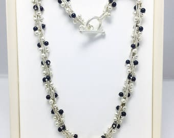 Twisted DNA Peppercorn Necklace - Jet Black - 925 sterling Silver