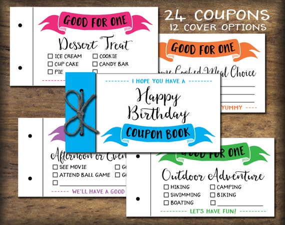 kids coupon book  printable gift idea  instant download  diy