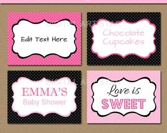 EDITABLE Pink Black Printable Labels, Buffet Cards, Tent Cards, Food Labels - INSTANT DOWNLOAD - Bridal Shower Labels - Birthday Labels