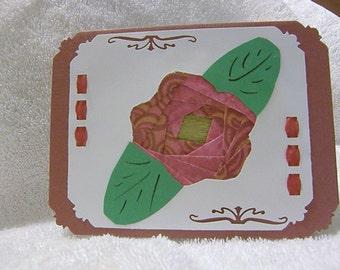 Red Rose Iris Folded Card