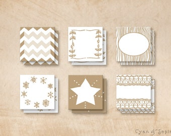 Printable PDF Gift Tags - Gold White Holiday Winter Christmas Wedding - Handdrawn Nature Rustic Star Lace Chevron