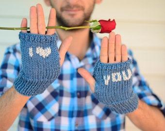 Heart Knit Gloves, Valentines Day Gift, Men Fingerless Gloves,I Love You, Blue Men Gloves, Arm Warmers, Gift For Him, Under 25