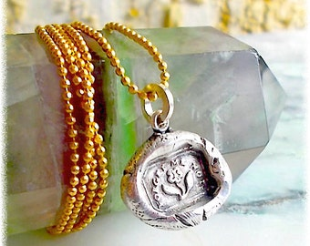"Sterling Wax Seal Necklace FORGET me NOT  Wax Seal Jewelry . ""True Love""   SYMBOLIC Petite Pendant . Victorian,  Downton Abbey Style"