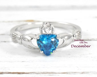 Blue Topaz CZ Ring Claddagh Ring Irish Celtic Ring Sterling Silver Wedding Band Promise Ring Womens Ring Celtic Ring Band