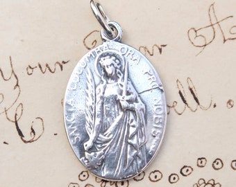 St Columba Medal - Patron of Girls - Sterling Silver Antique Replica