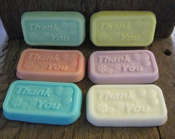 5 Shea Butter Thank You Soap Favors Wedding, Bridal Shower, Baby Shower, Birthday