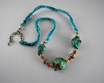 Antique coral and turquoise necklace - Tibetan turquoise - Antique coral beads