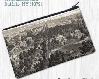Steel Engraving of Buffalo, NY (1872)—Pouch, Wallet, Wristlet, Coin Purse, Zipper Bag, Clutch, Pencil Case, Makeup Bag