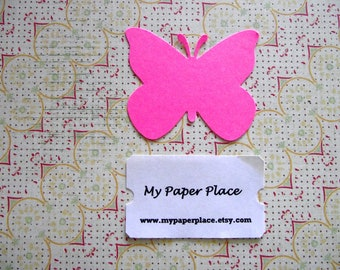 50 Bright Pink Butterfly Die Cuts- 2 inch cardstock-  Free Secondary US Shipping