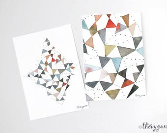 Abstract Geometric Triangle Watercolor Painting Print Notecard - Diamond Shape Rhombus Dot Card - Multicolor Colorful Abstract Greeting Card
