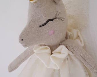 Unicorn doll in linen and tulle ecru flocked hearts