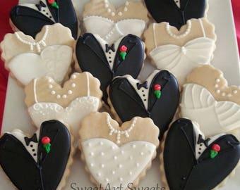 Wedding Cookies - Bride and Groom Heart cookies - 1 dozen - Wedding cookie favors - bridal cookies - decorated cookie favors