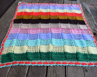 Vintage Handmade Crochet Afghan/Throw/Baby Blanket Spring Colors Lightweight