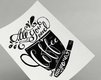 All You Need is Coffee and Mascara - Printable - Beauty Hand-lettered Quote - Lettering Make-up Inspirational Quote