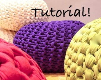 The Super Chunk Knitted Pouf Pattern - Downloadable PDF TUTORIAL