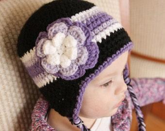 Purple Striped Earflap Hat - Girls Winter Hat
