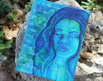 Gifts For Mermaid Lovers - Rumi Quote - Watercolor Mermaid - Let The Waters Settle - Mermaid Bathroom Decor - Moonchild Art - Gift For Yogis