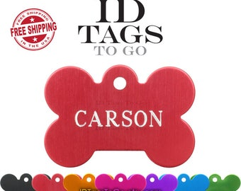 Pet Tags. ID Tags for Dogs Large Bone ID Tag custom engraved personalized on two sides. Optional Tag Silencer Available.