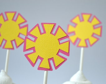 Sunshine Cupcake Toppers Hot Pink & Yellow  By The Dozen 12