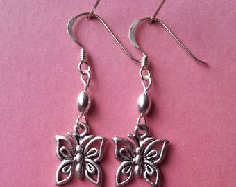Butterfly earrings with hypoallergenic hooks. Hand made in the UK.
