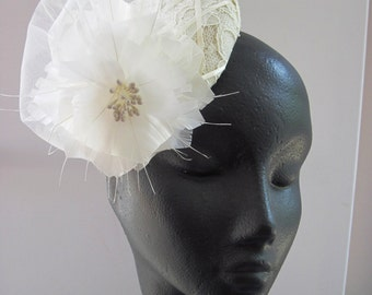 Womens Cocktail Hat Ivory Lace Flower Bridal Wedding